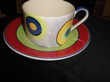 BOLD DESIGN GOOD SIZE CUP AND SAUCER WHITTARD RED GREEN LILAC LUSTRE TARGET
